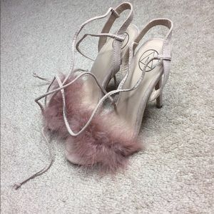Missguided blush pink furry lace up heels💕